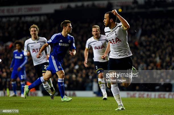 Andros Townsend of Spurs celebrates after scoring his team's third goal from the penalty spot during the Barclays Premier League match between...