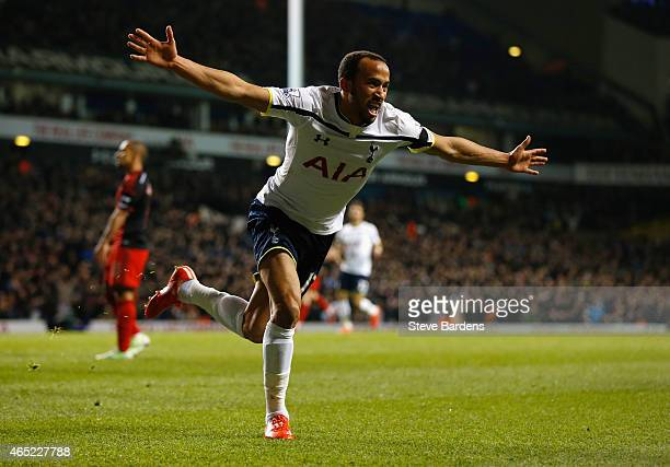 Andros Townsend of Spurs celebrates as he scores their third goal during the Barclays Premier League match between Tottenham Hotspur and Swansea City...