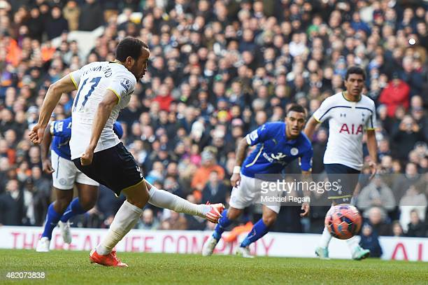 Andros Townsend of Spurs scores the opening goal from the penalty spot during the FA Cup Fourth Round match between Tottenham Hotspur and Leicester...