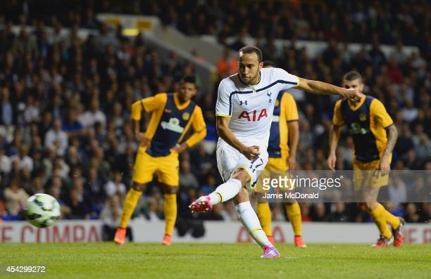 Andros Townsend of Spurs scores their third goal from the penalty spot during the UEFA Europa League Qualifying PlayOffs Round Second Leg match...