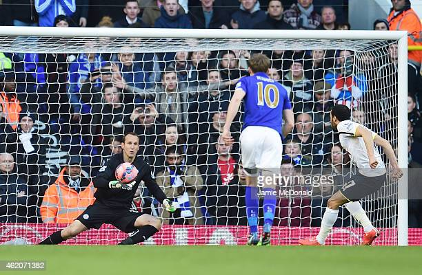Andros Townsend of Spurs scoresthe opening goal from the penalty spot past goalkeeper Mark Schwarzer of Leicester City during the FA Cup Fourth Round...