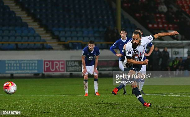 Andros Townsend of Spurs U21s scores a goal from the penalty spot during the Barclays U21 Premier League match between Everton U21 and Tottenham...