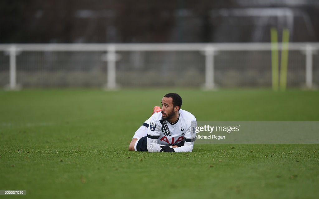 Andros Townsend of Tottenham Hotspur U-21 looks on during the Barclays U21 Premier League match between Tottenham Hotspur and Manchester City at Tottenham Hotspur Training Centre on January 18, 2016 in Enfield, England.