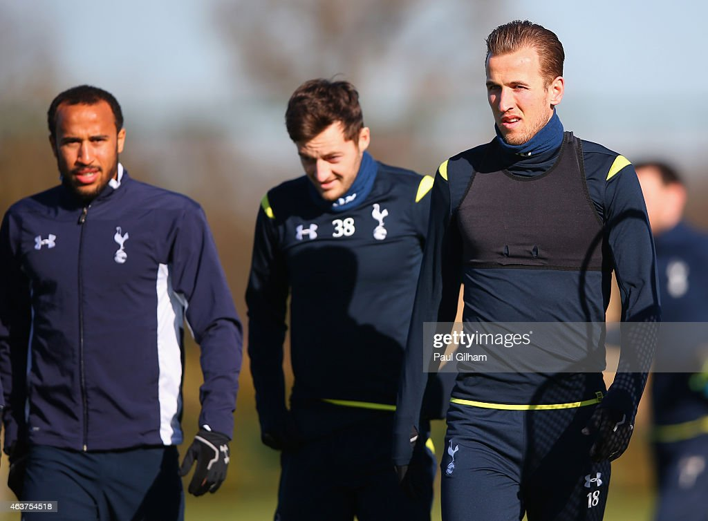 Andros Townsend , Ryan Mason and Harry Kane of Spurs during a training session ahead of the UEFA Europa League round of 32 first leg match against Fiorentina at Enfield Training Centre on February 18, 2015 in Enfield, United Kingdom.