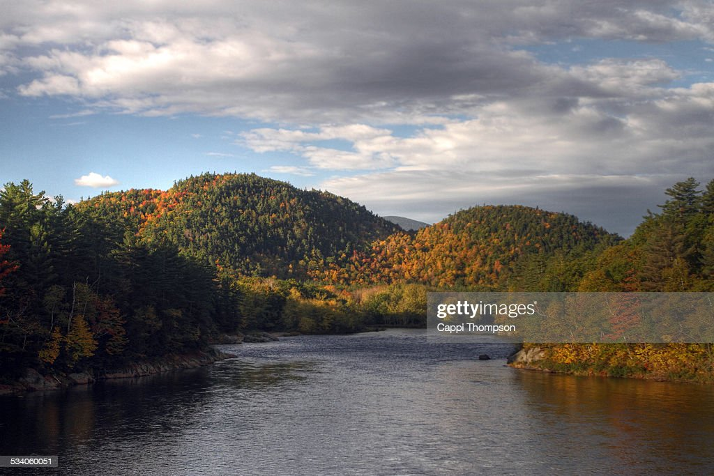 Androscoggin River in Gilead, Maine. : Stock Photo