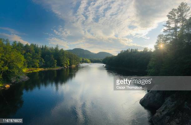 androscoggin river in gilead, maine usa - maine stock pictures, royalty-free photos & images