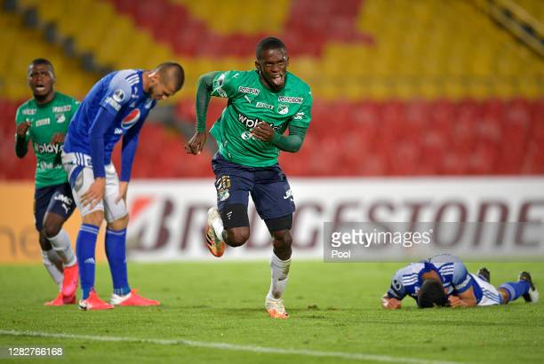 Andrés Colorado of Deportivo Cali celebrates after scoring the first goal of his team during a second round match of Copa CONMEBOL Sudamericana 2020...