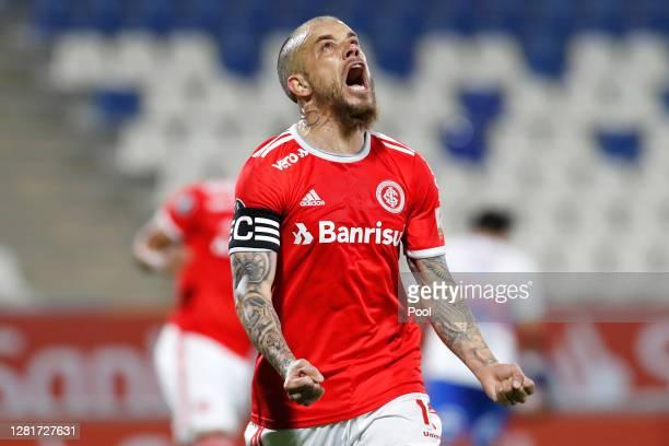 Andrés D'Alessandro of Internacional celebrates after scoring the first goal of his team during a Group E match of Copa CONMEBOL Libertadores 2020...
