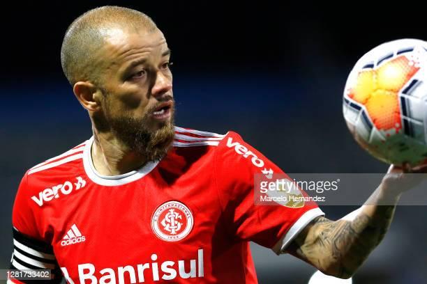 Andrés D'Alessandro of Internacional looks at the ball during a Group E match of Copa CONMEBOL Libertadores 2020 between Universidad Católica and...