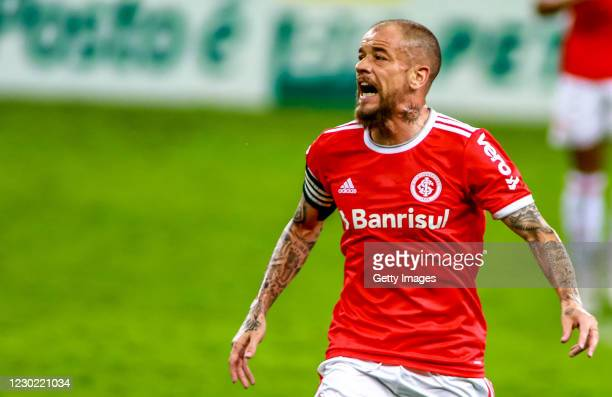 Andrés D'Alessandro Of Internacional reacts after his last match in the club against Palmeiras as part of Brasileirao Series A 2020 at Beira Rio...