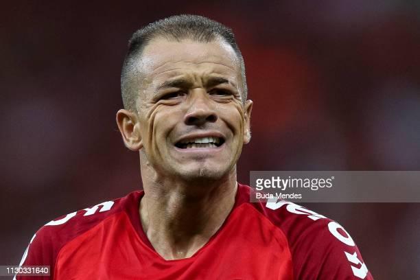 Andrés D'Alessandro of Internacional reacts during a match between Internacional and Alianza Lima, as part of Copa CONMEBOL Libertadores 2019 at...