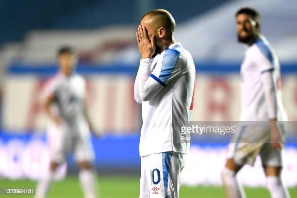 Andrés D'Alessandro of Nacional reacts during a round of sixteen match between Nacional and Peñarol as part of Copa CONMEBOL Sudamericana 2021 at...