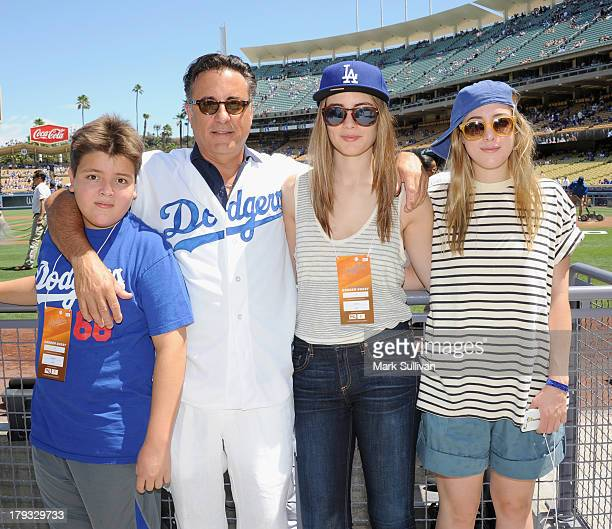 Andrés GarciaLorido actor Andy Garcia Alessandra GarciaLorido and Daniella GarciaLorido on the field before the MLB game between the San Diego Padres...