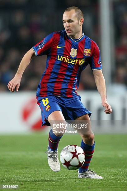 Andrés Iniesta of Barcelona during the UEFA Champions League round of sixteen second leg match between FC Barcelona and VfB Stuttgart at the Camp Nou...