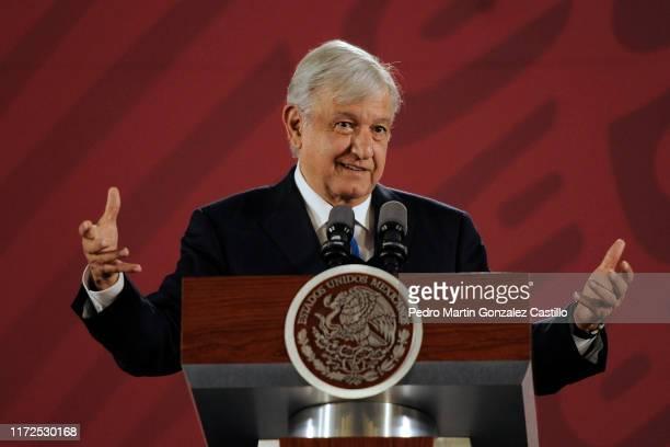 Andrés Manuel López Obrador President of Mexico speaks during the daily morning press briefing at Palacio Nacional on September 5, 2019 in Mexico...
