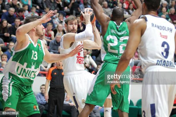 Andrés Nocioni end Anthony Randolph of Real Madrid in action against Marko Banic end Latavious Williams of UNICS Kazan during the Turkish Airlines...