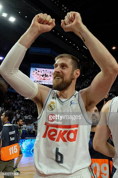 andrs nocioni of Real Madrid celebrate their victory over the 201516 ACB League FC Barcelona in the Barclaycard Center in Madrid Spain on June 22 2016