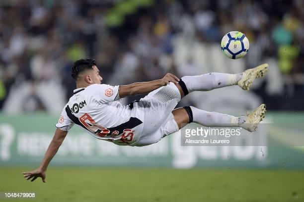 Andrés Riosof Vasco da Gama kicks the ball during the match between Botafogo and Vasco da Gama as part of Brasileirao Series A 2018 at Engenhao...