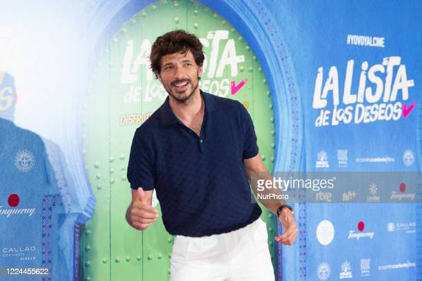 Andrés Velencoso poses for the photographers during the premiere of the film 'La lista de deseos' directed by Spanish film maker Alvaro Diaz Lorenzo...