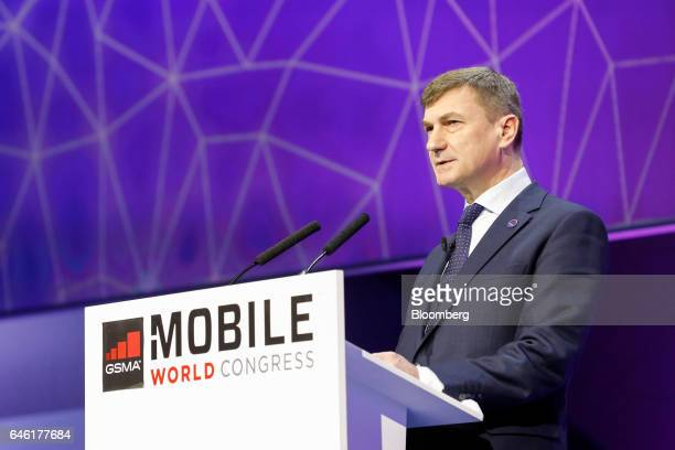 Andrus Ansip, the European Union's vice president for the digital single market, delivers a speech on the second day of Mobile World Congress in...
