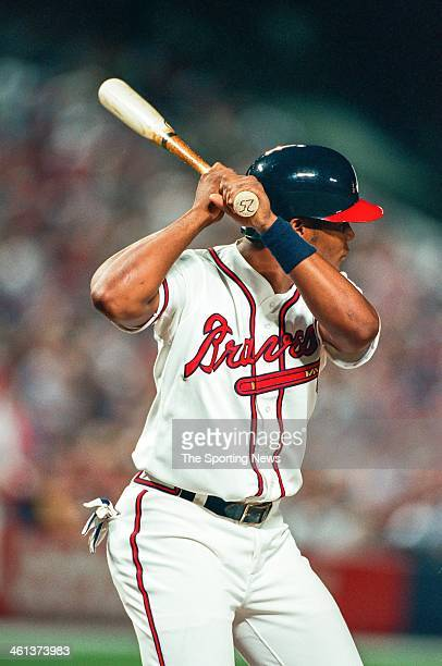Andruw Jones of the Atlanta Braves bats during Game One of the National League Championship Series against the San Diego Padres on October 7 1998 at...
