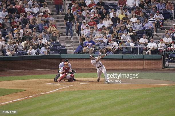 Andruw Jones of the Atlanta Braves bats during the game against the Philadelphia Phillies at Citizens Bank Park on August 31 2004 in Philadelphia...