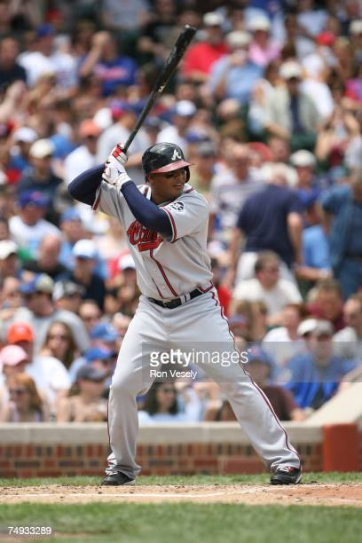 Andruw Jones of the Atlanta Braves bats during the game against the Chicago Cubs at Wrigley Field in Chicago Illinois on June 2 2007 The Braves...