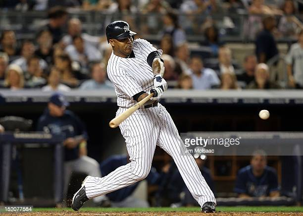 Andruw Jones of the New York Yankees in action against the Tampa Bay Rays at Yankee Stadium on September 14 2012 in the Bronx borough of New York...