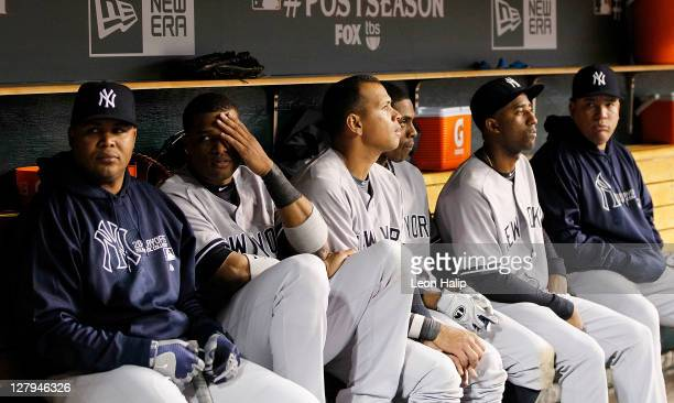 Andruw Jones Robinson Cano Alex Rodriguez Curtis Granderson of the New York Yankee reacts after the Tigers took a 54 lead in the ninth inning during...