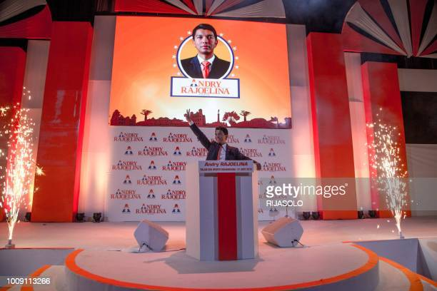 Andry Rajoelina, former President of the High Transitional Authority of Madagascar greets his supporters who came to attend his first political...