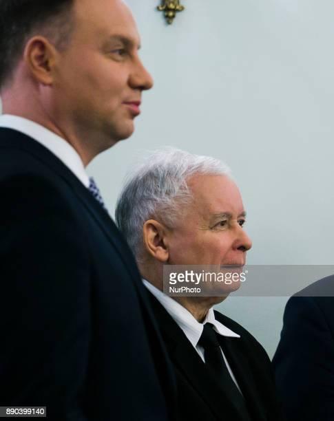 Andrzej Duda and Jaroslaw Kaczynski at the ceremony of establishing a new government on 11 Decembe 2017 in Warsaw Poland