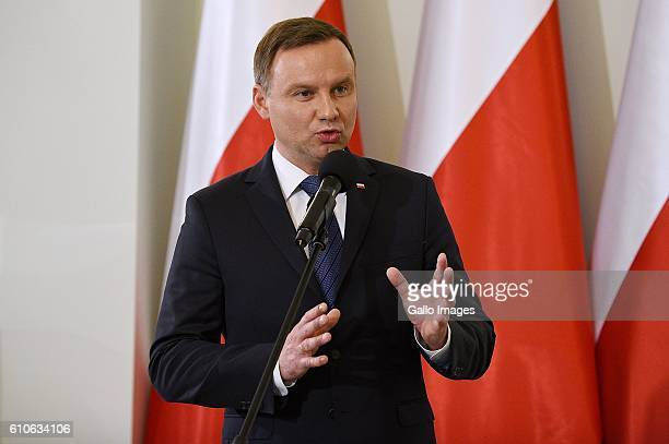 Andrzej Duda attends the celebration of the 40th anniversary of the establishment of the Workers Defence Committee on September 23 2016 in Warsaw...