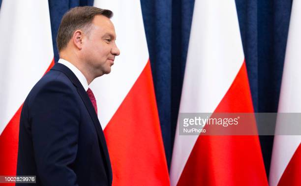 Andrzej Duda during a statment in Warsaw, Poland, on July 20, 2018.