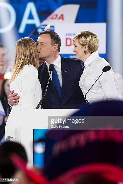 Andrzej Duda is given support from his wife Agata and daughter Kinga at a press conference as part of his campaign on May 20 2015 in Warsaw Poland...