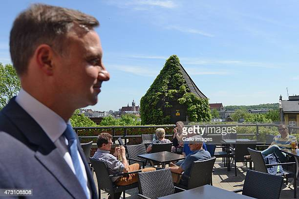 Andrzej Duda meets supporters during his campaign for President on May 12 2015 at The Main Square in Cracow Poland Andrzej Duda is the Law and...