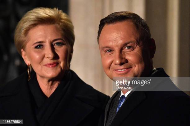 Andrzej Duda President of Poland and his wife Agata KornhauserDuda arrive at number 10 Downing Street for a reception on December 3 2019 in London...