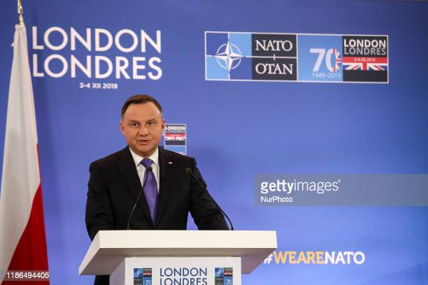 Andrzej Duda, President of Poland speaks during a press conference of 70th NATO summit in London, England on December 4, 2019. The meeting start amid...