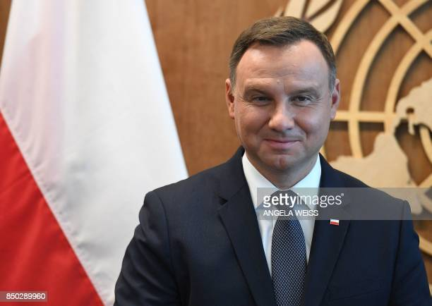 Andrzej Duda, President, Republic of Poland looks on before meeting United Nations Secretary General Antonio Guterres at the UN headquarters in New...