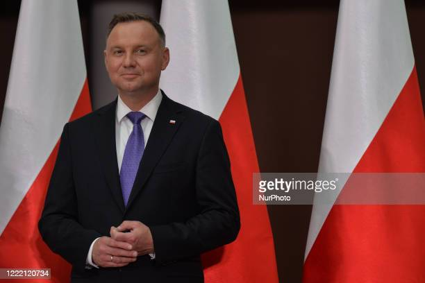 Andrzej Duda, the current Polish President and candidate for the presidential election 2020 speaks to media during his visit in Wierzchoslawice....