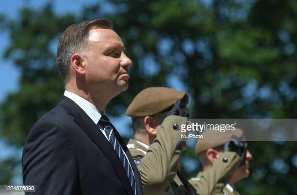 Andrzej Duda, the current Polish President and candidate for the presidential election 2020, meets his supporters during a presidential campaign...