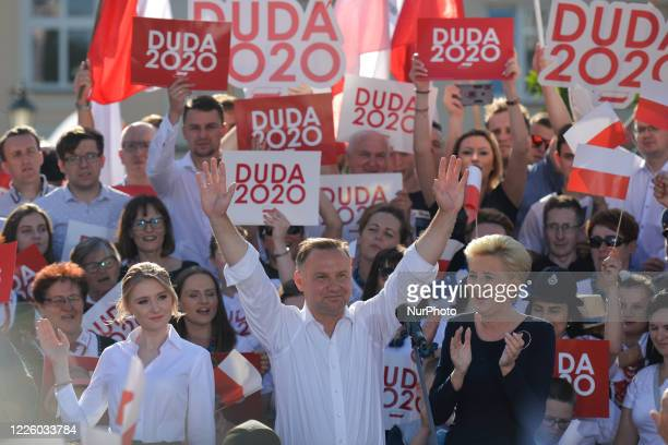 Andrzej Duda the current Polish President and candidate for the presidential election 2020 accompanied by wife Agata and daughter Kinga seen during...