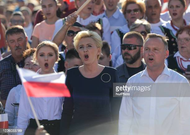 Andrzej Duda the current Polish President and candidate for the presidential election 2020 accompanied by wife Agata and daughter Kinga seen singing...