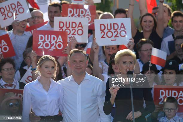 Andrzej Duda the current Polish President and candidate for the presidential election 2020 and his daughter Kinga listen his wife Agata addresing the...