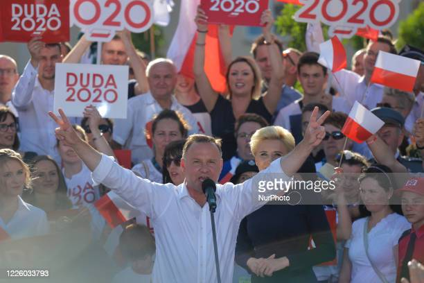 Andrzej Duda the current Polish President and candidate for the presidential election 2020 accompanied by wife Agata and daughter Kinga seen the...