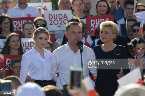 Andrzej Duda the current Polish President and candidate for the presidential election 2020 accompanied by daughter Kinga and wife Agata addresses the...