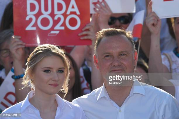 Andrzej Duda the current Polish President and candidate for the presidential election 2020 with his daughter Kinga seen on the final day of Duda's...
