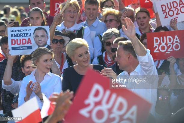 Andrzej Duda the current Polish President and candidate for the presidential election 2020 accompanied by wife Agata and daughter Kinga seen on the...
