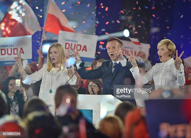Andrzej Duda the Law and Justice party candidate in Polish presidential election 2015 accompanied by wife Agata Kornhauser and daugther Kinga during...