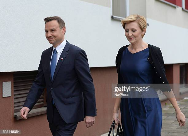 Andrzej Duda the Law and Justice party candidate in Polish presidential election 2015 accompanied by wife Agata Kornhauser and daugther Kinga arrives...