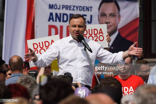 Andrzej Duda, the rulling President of Poland backed by the governing right-wing Law and Justice party delivers a speech for locals and supporters...